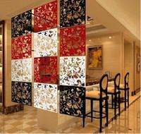 bamboo folding door - Hanging folding screen set pieces Fashion partitions Entranceway door TV cutout grilles