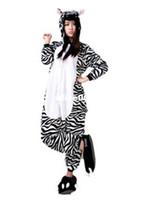 Wholesale 2015 Zebra Flannel Pyjama Cartoon Cosplay Winter Warm Loungewear Adult Homewear Cute Onesies Animal Pajamas