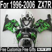 al por mayor carenados zx7 ninjas-Carenados calientes de la motocicleta de la venta para el kit negro verde del oeste del carenado de Kawasaki ZX7R 1996-2003 ZX7 Ninja ZX750 96-03 MNA62