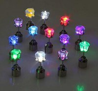 Wholesale new LED Earrings Light Up Crown Shaped fashion Shiny Studs flashing earrings many color for your choose pair