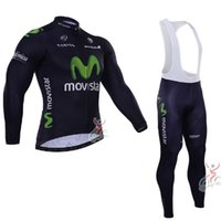 Wholesale 2015 High quality new arrival movistar long sleeve Cycling Jersey men s Sport wear bib pant kit ourdoor bicyicle equipment free shpping