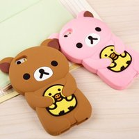 Wholesale 10pc Cute D Cartoon Bear Rilakkuma Chicken Soft Silicone Gel Rubber Case Cover For iPhone S th iPhone5