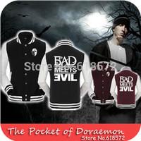 baseball met - Fleece Unisex Lovers Hip Pop Rap Eminem Bad Meets Evil Autumn Winter Jacket Outdoors Men Baseball jacket varsity jacket hoody