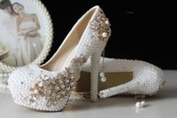 crystal pumps - 2015 Glitter Cheap Wedding Shoes Pearls Crystals Beads Pumps Shoes Gold Rhinestone Lace High Heels Bridal Shoes WS5