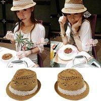 Cheap Wholesale-Handmade cutout women's fedoras jazz hat straw braid lace decoration straw hat fashion sun hat sunbonnet