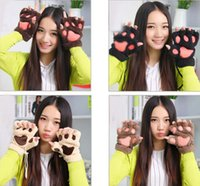 claw gloves - Winter Fluffy Bear Cat Plush Paw Claw Gloves Novelty Christmas Soft Toweling Half Covered Women s Gloves Mittens