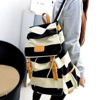 2016 Hot Sale Nouveau mode Sac à dos en forme de grande capacité Stripe Navy Style School Canvas Backpack Cheap for Sale / Ipad Bag Livraison gratuite