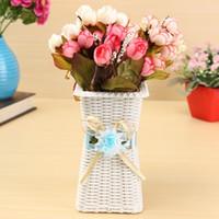 fruit gift baskets - Artificial Rattan Square Flower Vase Roses Fruits Candy Storage Basket Garden Wedding Party Decoration Gift