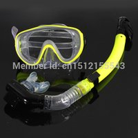 Wholesale Yellow PVC Scuba Snorkeling Diving Swimming Anti Fog Goggles Mask Glasses Dry Snorkel Set