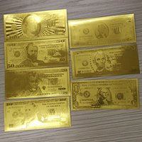 banknotes lot - 7pcs k Gold Foil Banknotes Dollars World Paper Money Collections Wedding Gift metal craft