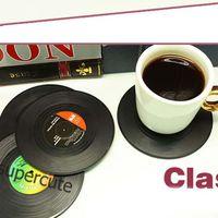 vinyl record - 6Pieces Set Retro Record Black Cup Mats Anti skid Pads Vinyl Drinks Coasters Cup Mats Pads
