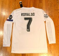 Wholesale Cristiano Ronaldo real madrid long sleeve jersey home white colour C Ronaldo football shirt kit with champion patch size s m l xl