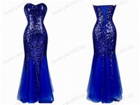 robes sexy bleu sweetheart sirène achat en gros de-2017 Robes de soirée sirène Sweetheart Sequined Royal Blue Robe formelle Long Robes de soirée Mermaid Prom Dress Cheap Celebrity Dress Gown