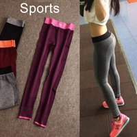 wholesale yoga pants - 2015 Hot Women Yoga Sports Elastic GYM Pants Force Exercise Tights Female Sports Elastic Fitness Running Trousers Slim Leggings Color