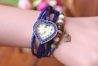 Wholesale Mix order Multi color Quartz Watch Leather Women Vintage Watches Love Heart Clock Ladies Wristwatches Heart shaped Pendant design