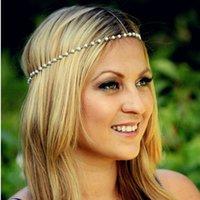 Wholesale 2016 Fashion Women Bohemian Metal Pearl Hair Band Hair Accessories Forehead Headband Head Chain