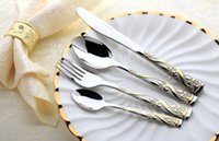 Wholesale Stainless Steel Flatware Sets Gold Plated Cutlery Set Dinner Set Tableware Silverware Dinner Fork Spoon Knife