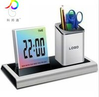 alarm commercial - Commercial office gifts multifunctional electronic pen holder calendar alarm clock Multi Function Clock