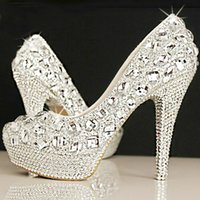Cheap Wedding Shoes Spring 2015 Fashion Luxury Crystals Wedding Shoes Custom Made Size High Heel Bridal Shoes Party Prom Women Shoes