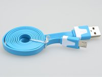 Wholesale Micro USB Flat Cable USB Sync Data Charger Noodle Cables Meter ft for Samsung HTC Blackberry all Android Cell Phones ultra thin slim blue