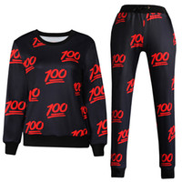Wholesale 2015 Emoji Joggers Outfit Tracksuit D Print Emoji Hoddies and Pants Pieces Set Sport Suit Women Emoji Joggers Tracksuits H04