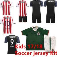 Soccer Short Cotton Kids Kits Mexico Club Camiseta de futebol 2017 Chivas  de Guadalajara Youth Boy 9c95375e3c587