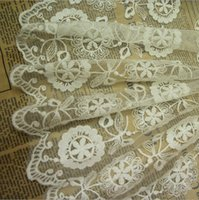 accessory curtains - Hot Sale Yard Handmade DIY Clothing Accessories White Embroidery Lace Fabric Curtains Bridal Gown Lace Trims YR0058