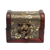 antique wood beds - Antique Vintage Flower Print Wooden Metal Lock Sorage Retro Jewelry Box Wood Organizer Case Boxes