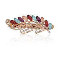 austrian crystal hairclip - Fashion Woman s in Hairclip Colors Leaf Austrian Crystal Hairwear Gold Plated Headdress Accessory Headwear For Girls Gift