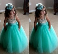 purple cupcake - 2015 Cute Flower Girls Dresses Spaghetti Crystal Tulle Floor Length Turquoise Ball Gown Pageant Dresses For Girls Infant Kids Dress Cupcake