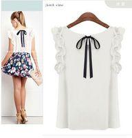 Wholesale FG1509 summer women s bow lacing wood ear sleeveless casual chiffon shirt colors s xxl