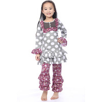 Cheap Autumn Girls outfit ,Polka Dots Top Floral Ruffled Pants Set ,Gift ,Princess girls clothing set ,persnickety pattern outfit