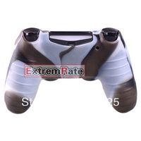 Vente en gros Duable 1 PCS Silicone Gel Caoutchouc Housse de protection pour la peau Skin Playstation 4 PS4 Controller Brown White Camo