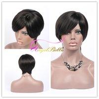 Cheap 100% Brazilian Virgin Cheap Hair Wig Natural Straight Human Hair Bob Style Wigs 2Pcs Lot 8inch Short Human Hair Cheap Wigs