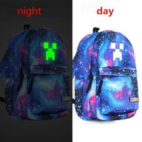 Wholesale Luminous Minecraft backpack Cartoon My World canvas casual travel bags boys girls School bags Noctilucent Book Bag Shoulder Bag MF003 NEW