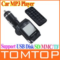 Wholesale 1 LCD Rotatable Car MP3 Player Wireless FM Transmitter USB Disk SD MMC TF with Remote Control Black