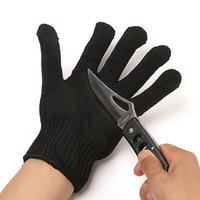 abrasion steel - New Black Stainless Steel Wire inside Safety Gloves Cut Resistant Anti Abrasion breathable Work Gloves working Protective Gloves level