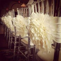 garden furniture - Ivory White D Flower Chair Covers Sashes Pieces A Hand Made Country Garden Beach Wedding Suppliers Decoration Cheap