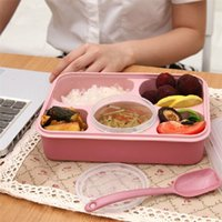 Wholesale 4 Microwave Food Thermos PlasticBento Lunch box Food Container Tableware Dinnerware Sets Kitchen Cooking Tools With Scoop