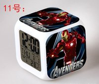 Wholesale 20pcs Styles Super Hero Reveil Led Table Clock The Avengers Ironman Captain America Hulk Thor Black Widow Hawkeye Alarm Clock