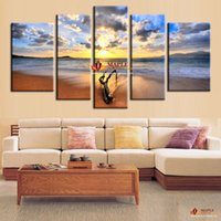 art canvases - 5 Hot Sell The Family Decorates Sunset Sea View Print On The Canvas Wall Art Picture Gift unframed Wall Pictures For Bedroom