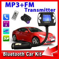 mp3 car player - 1 LCD Bluetooth Car Kit Handsfree MP3 Player FM Transmitter Steering Wheel Remote USB TF SD MMC for iPhone S5