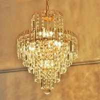 Wholesale Luxury Royal Golden Crystal K9 Chandelier Pendant Lamp Crystal Golden Chandeliers Hall Living Room Lighting lustre de cristal