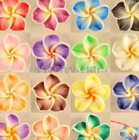 bamboo borders - 150pcs mixed you can Pick Color Polymer Clay White Border Plumeria Flower Beads mm