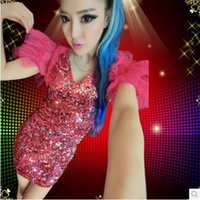 adult jazz costumes - sexy Costumes dance party costumes of feathers adult female singer jazz dance dress sequined skirt Fashion