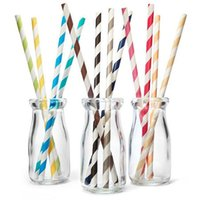 Wholesale 100Pcs Food Grade Disposable Paper Drinking Straws cm Length Multicolor Degradable Paper Straws Party Bar Accessories dandys