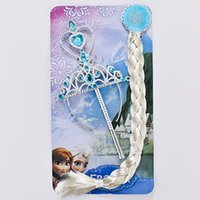 accessories and ornaments - Frozen crown and wand Ornament Anna Elsa cosplay Crown Tiaras Children Party Accessories Magic Wand sticks Rhinestone Crown Anna Elsa Hair