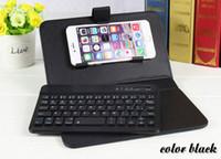 Compra Caso de cuero del teclado del iphone-cubierta del teclado universal del teléfono móvil del cuero del teclado de Bluetooth para el iPhone 6 6s más borde samsung s6 con el caso del soporte