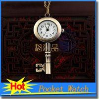 ancient shapes - Children Watches Hot Sale Original Retro Chain Pocket Watches Key Shape Ancient Ways Sweater Chain Cartoon Watch