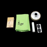 Wholesale 5 in Alto Saxophone Sax bE Aluminum Alloy Mute Mouthpiece Patch Bamboo Reed Cleaning Cloth Cork Grease Accessories Kit order lt no track